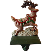 SOLD Midwest Cast Iron Reindeer Christmas Stocking Holder