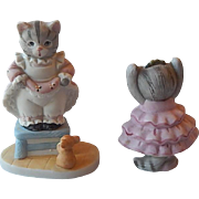 Two Schmid B. Shackman Kitty Cucumber Figurines