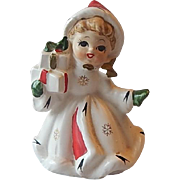 SOLD Napco Hand Painted Christmas Girl Figurine