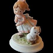 Lefton Miniature Girl and Kitten Figurine