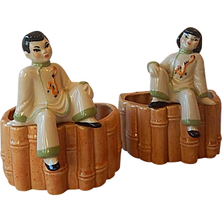 Two Ceramic Art Studio Asian Planters