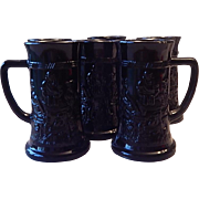 Six Tiara Exclusive Black Glass Beer Mugs