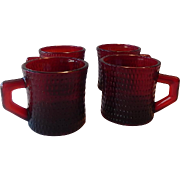 Four Ruby Red Coffee Mugs