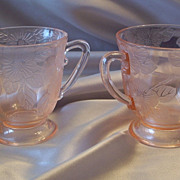 Depression Glass Pink Dogwood  Sugar and Creamer
