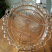 Pink Depression Glass Lace Edge 3-Part Relish