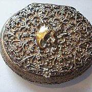 Fabulous Victorian Era Brass Filigree Hinged Vanity Box