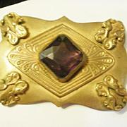 Large Vintage Amethyst Glass Sash Pin