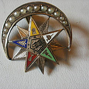 Victorian Era 10k Seed Pearl Enamel Crescent Eastern Star Brooch