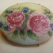Large Vintage Hand Painted Porcelain Brooch