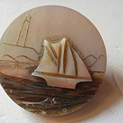 Carved Mother of Pearl Ship Brooch