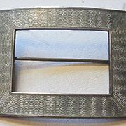 Heavy Sterling Silver-Grey Enamel Brooch