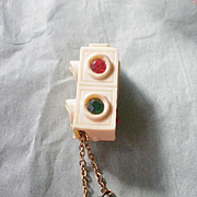 """Molded Celluloid Articulated """"Stop Go"""" Traffic Signal Pin~ Book Piece"""
