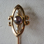 SALE PENDING Art Nouveau Era 10k Amethyst Seed Pearl Stick Pin