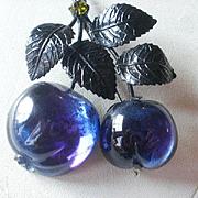Vintage Austria Hanging Plums Forbidden Fruit Brooch
