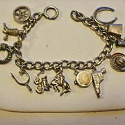 Fabulous Sterling Western Themed Charm Bracelet