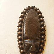 """Vintage Prieto Mexico 3"""" Grey Onyx Sterling Mask Brooch"""