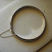 Polished Sterling Bangle Bracelet with Safety