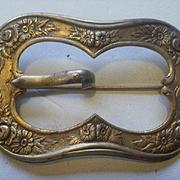 Large Vintage Brass Floral Sash Pin