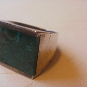 Fabulous Sterling Turquoise Channel Set Man's Ring~12 1/2