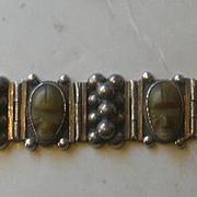 1940's Mexican Silver Mask Bracelet Over 3 Ounces