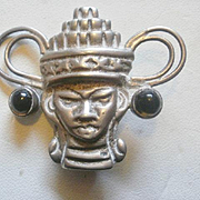 Artist Signed Sterling Mexico Face Brooch