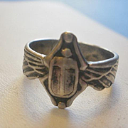 SALE PENDING Art Nouveau Era Sterling Winged Scarab Ring ~8