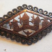 Vintage 800 Silver Marcasite Village Scene Pin