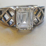 Vintage Sterling Emerald Cut CZ Ring 8 1/4