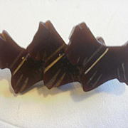 Art Deco Era Carved Brown Bakelite 3 Layered Scottie Dogs Pin
