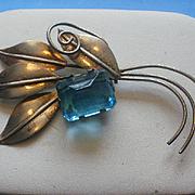 SALE PENDING Vintage Large Sterling & Teal Glass Brooch