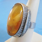 SALE PENDING Polish Hallmarked Sterling Butterscotch Egg Yolk Amber Ring  -8
