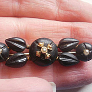 Victorian Era Carved Crepe Stone Seed Pearl Brooch