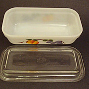 SALE Vintage Fire King Glass Gay Fad Fruit Refrigerator Box ~ Dish with Lid