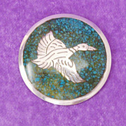 Taxco Signed Inlaid Flying Duck Sterling Silver & Turquoise Pin