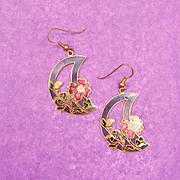 SALE Amazing Cloisonne Dangle Half Moon and Flower Earrings