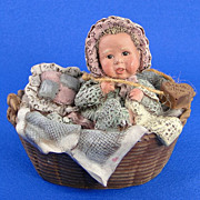 Sarah's Attic Baby Tansy in Basket Vintage Figurine