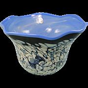 Fenton Glass Blue Black Bowl Frank Workman Ocean Fantasy