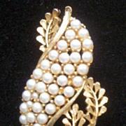 Vintage BSK Faux Pearl and Gold-tone Leaf Brooch