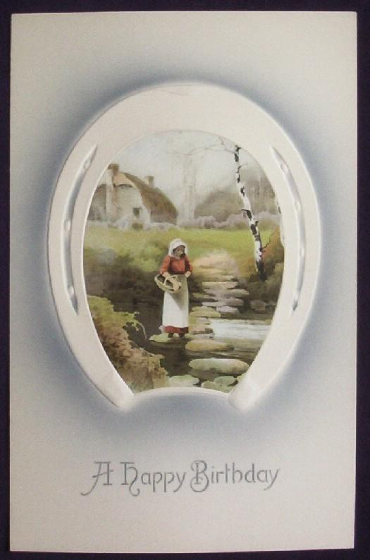 Early 1900s Embossed Meissner & Buch Postcard, Horseshoe Inset of Woman Crossing Rocks Across Creek, Thatched Cottage