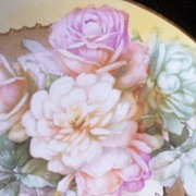 "Lovely Imperial Crown China (Austria) 8 3/4"" Plate, Lush Pastel Roses, Gilded Filigree Overlay of Grapes and Leaves, 1880-1920"