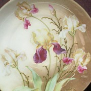 "Elegant R.S. Germany 10"" Cake Plate, Multi-Colored Irises, Applied Gold Paste Accents, c. 1920s-30s"