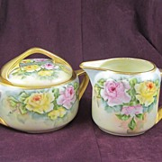 Royal Epiag Hand Painted Large Sugar and Creamer, Pink & Yellow Roses, Artist Wootton
