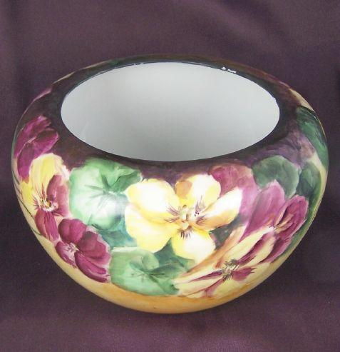 1918, Masterfully Hand Painted Rosenthal Display Bowl/Jardiniere, Exuberant Jewel-toned Florals, Artist Edwards