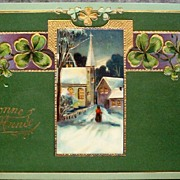 Early 1900s Embossed Gilded E.A.S. Gel Postcard, Woman Approaches Snow-covered Steeple Church, 4-Leaf Clovers