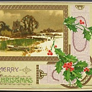 1910 Lowey Gilded Embossed Postcard, Watercolor of Castle on a Lake, Holly & Berries, Ornate T
