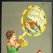 1912 Embossed A.M.B. Postcard, Boy Offers Easter Eggs to Girl in Floral Egg, Rooster Watches w