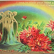 1910 Embossed Gilded Postcard, Art Nouveau Vase, Coral Mums, Rainbow