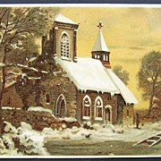 SOLD ca. 1907 Postcard, Parishioners Approach Snow-covered Country Church under Golden Sunset