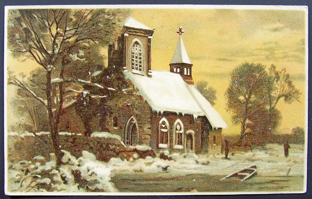 ca. 1907 Postcard, Parishioners Approach Snow-covered Country Church under Golden Sunset