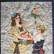 Early 1900s Embossed Gilded Postcard, Victorian Children in Sunday Best Offer Pink Roses